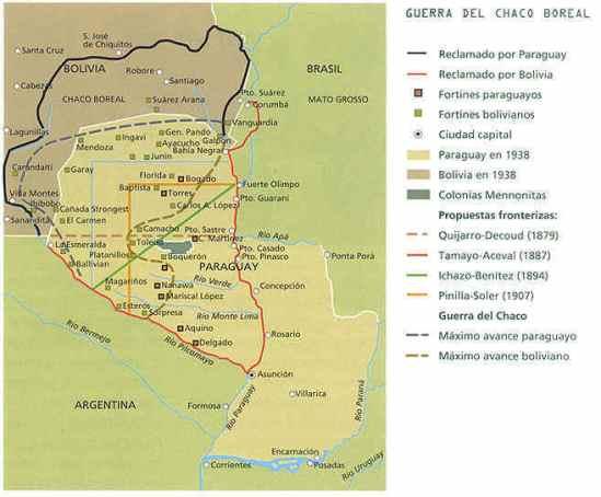 Mapa Paraguay durante la Guerra del Chaco Boreal